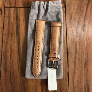 MICHELE Rose Gold Saffiano Leather Watch Strap